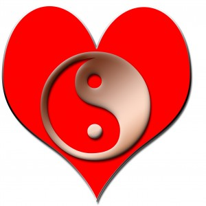 One heart symbol for a couple male & female